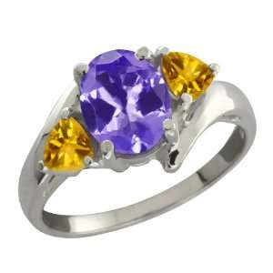1.56 Ct Oval Blue Tanzanite and Yellow Citrine 14k White
