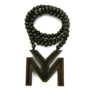 Wood LILWAYNE DRAKE NICKI Young Money Pendant New w/Ball Chain Brown