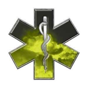 Star of Life EMT EMS Fire Yellow 6 Reflective Decal