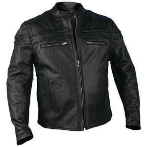 Leather Motorcycle Jacket with Double Piping & Air Vents Automotive