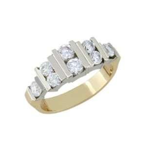 size 12.50 14K Gold Eight Stone Full Carat Diamond Ring: Jewelry