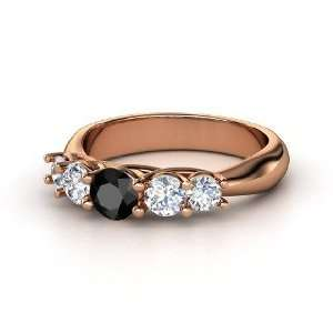 Oh La Lovely Ring, Round Black Diamond 14K Rose Gold Ring
