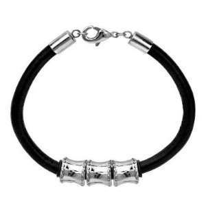 316L Stainless Steel   Bulleted Design Beads   Full Grain Leather Cord