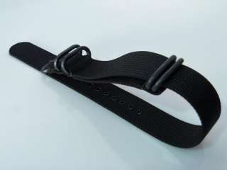 20mm High Quality ZULU 5 Ring Black PVD Watch NATO Band Strap
