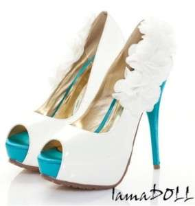 White Pep Toe Flower High Heel Platform Pumps Shoes #72