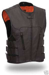 FMC Mens Black Leather SWAT Team Style Motorcycle Biker Vest