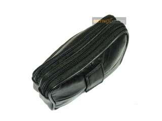 Black Leather Triple Zipped Belt Purse Money Coin Pouch