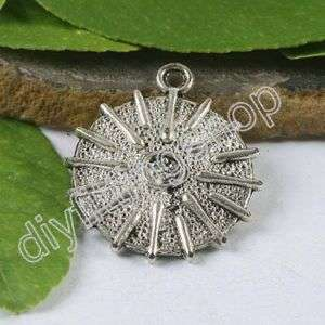 6pcs Tibetan Silver Shine Bead Charms H0549