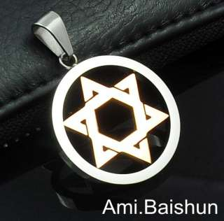 Steel Gold Silver Jewish Star Of David w Necklace Pendant #0702