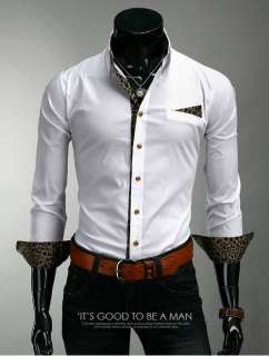 Fashion Stylish Mens Slim Fit Leopard Tops Casual Dress Shirts XS,S,M