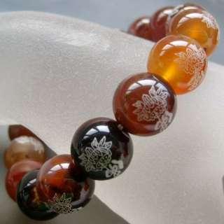 Agate Gem Tibet Buddhist FO Lotus Beads Elastic Bracele