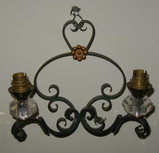 Pair Antique French Art Deco Wrought Iron & Crystal Wall Light Sconce