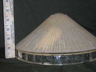 Antique Banquet Glass Lamp Shade white clear rectangles
