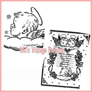 Vintage Sampler Embroidery Pattern ~ Angel Baby