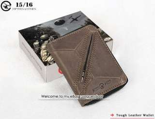 New Tough Mens Zipper Around Grey Leather Wallet ds1099