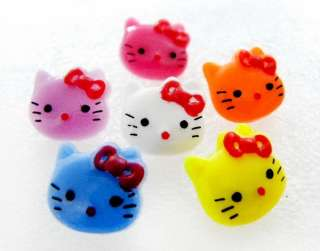 50 MIX HELLO KITTY BOW SHANK PLASTIC BUTTON CRAFT A295