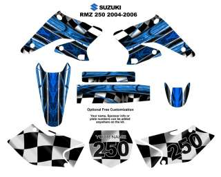 SUZUKI RM Z250 2004 06 Decal Kit Blue Racing Checker