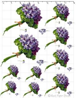 De VF 122 Shabby Vintage Style Lavender Flower Bouquets 10 Decals