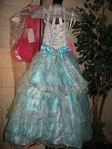 Perfect Angels 1387 Aqua White Pageant Gown Dress 4