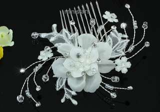 Bridal Wedding Ivory Fabric Flower Crystal Hair Comb AT1463