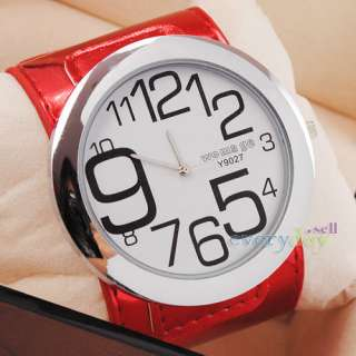 New Big Red Leather Quartz Girls Wrist Watch White Round Dial Hand