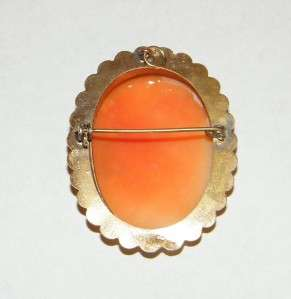 VINTAGE CARVED SHELL CAMEO PIN   BROOCH   PENDANT   800 SILVER