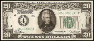 1928 $20 DOLLAR BILL GOLD ON DEMAND NUMERICAL FEDERAL RESERVE NOTE Fr