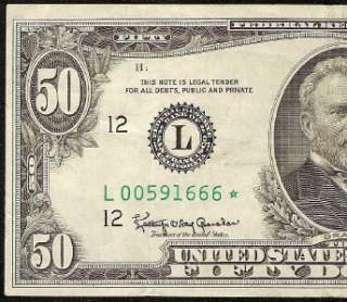 1963 A $50 DOLLAR BILL STAR FEDERAL RESERVE NOTE SAN FRANCISCO Fr 2113