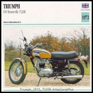 Motorcycle Card 1972 Triumph 650 Bonneville T120R twin