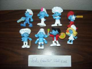Lot of 8 SMURFS McDonalds Happy Meal Toys, HTF OOP Loose figures