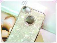 For iPhone 4 4S Luxury Bling Diamond Marble Chrome Hard Case Back
