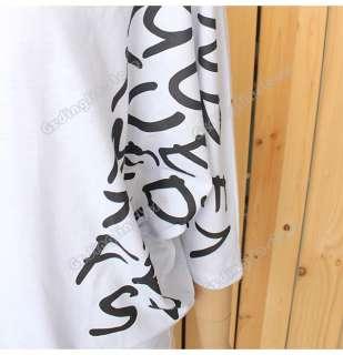Batwing Dolman Short Sleeve Letter Prints Tops Blouses T Shirts #207