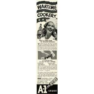 1943 Ad A1 Steak Sauce Backyard Barbecue Wartime Bottle