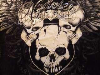 Mens Xzavier Unltd. T Shirt Distressed Wash Winged Royal Skulls