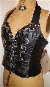 Harley Davidson Laredo Black Leather Halter Top Medium 98201 94VW