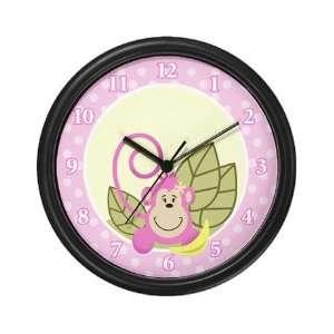 Pink Jungle Monkey Nursery Wall Art Clock