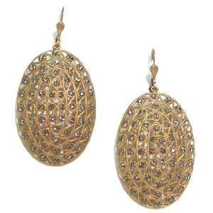 Catherine Popesco 14k Gold Plated Filigree Oval Dangle Earrings with
