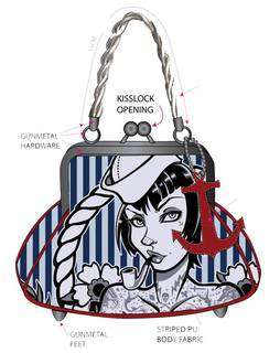 Tattoo Sailor Girl Pinup Kiss Lock Bag Purse Punk Retro