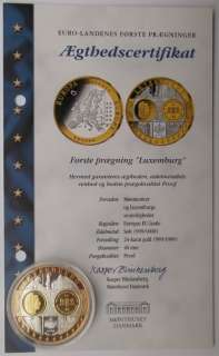 Luxembourg 2003 5 o 999 Silver Gold Proof Limited First Strike Coin