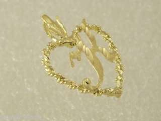 14 KT GOLD DIAMOND CUT HEART K INITIAL CHARM PENDANT