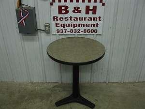 24 Round Tan Restaurant Cafe Table w/ Black Base