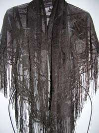 Black 66X42 Fringe Shawl Wedding Prom Dress Up
