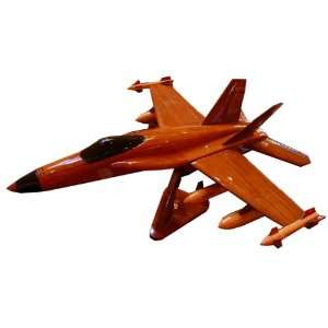 Mahogany Wooden Display Model Air Force F 18 Hornet Fighter Jet with