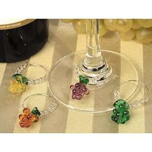 Ar Deco Glass Grapes Wine Charms (Se of 4 Charms