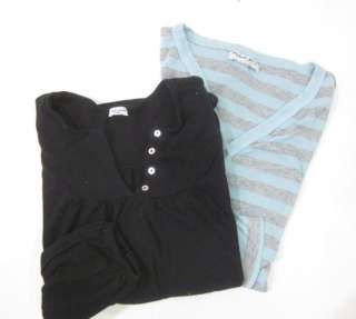LOT 2 DESIGNER Black Blue Gray Long Sleeve Shirts Sz Xs