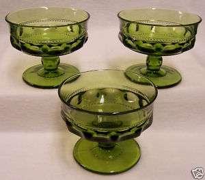 TIFFIN KINGS CROWN GREEN THUMBPRINT GLASS SHERBERT