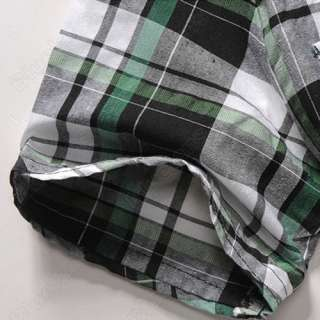 Mens Slim Fit Casual T Shirt Plaid Check Dress Short Sleeve Vintage
