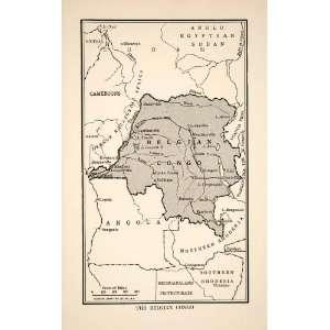 1921 Lithograph Map Belgian Congo Africa Angola Sudan