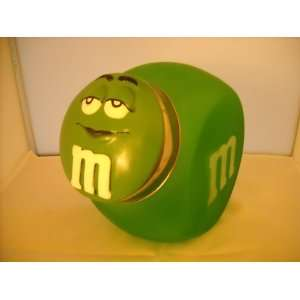 M&Ms Green Glass Cookie Jar