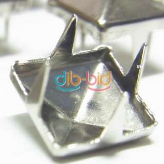 100CS 8MM Pyramid Studs Spots Nickel Punk Rock Design Spikes Heavy